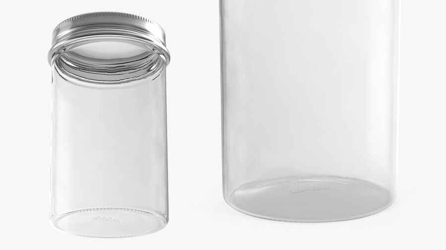 Kitchen Storage Glass Jar with Steel Lid royalty-free 3d model - Preview no. 5