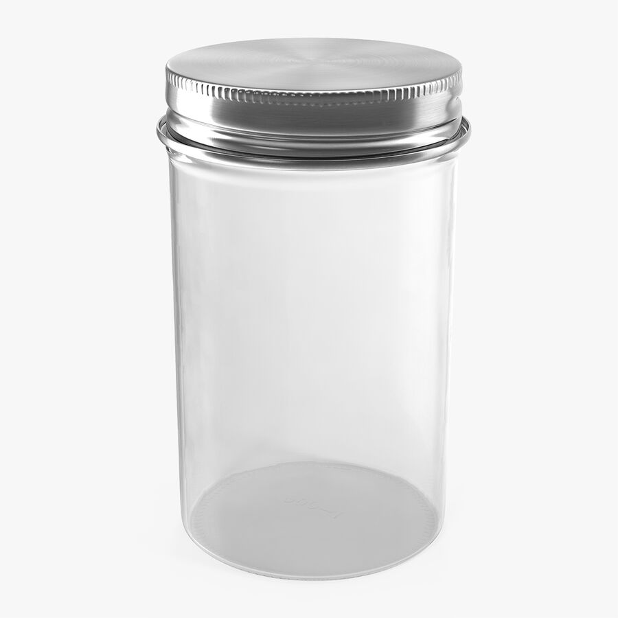 Kitchen Storage Glass Jar with Steel Lid royalty-free 3d model - Preview no. 1