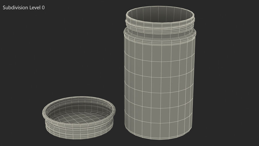 Kitchen Storage Glass Jar with Steel Lid royalty-free 3d model - Preview no. 11