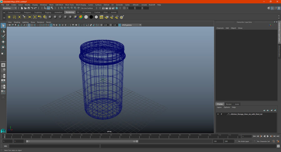 Kitchen Storage Glass Jar with Steel Lid royalty-free 3d model - Preview no. 17