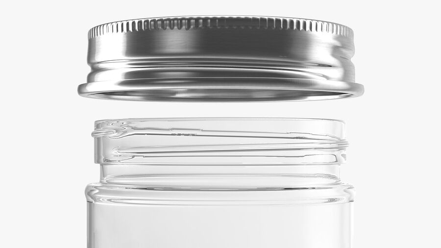 Kitchen Storage Glass Jar with Steel Lid royalty-free 3d model - Preview no. 9