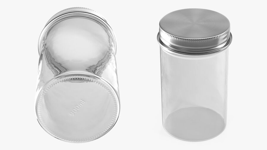 Kitchen Storage Glass Jar with Steel Lid royalty-free 3d model - Preview no. 6