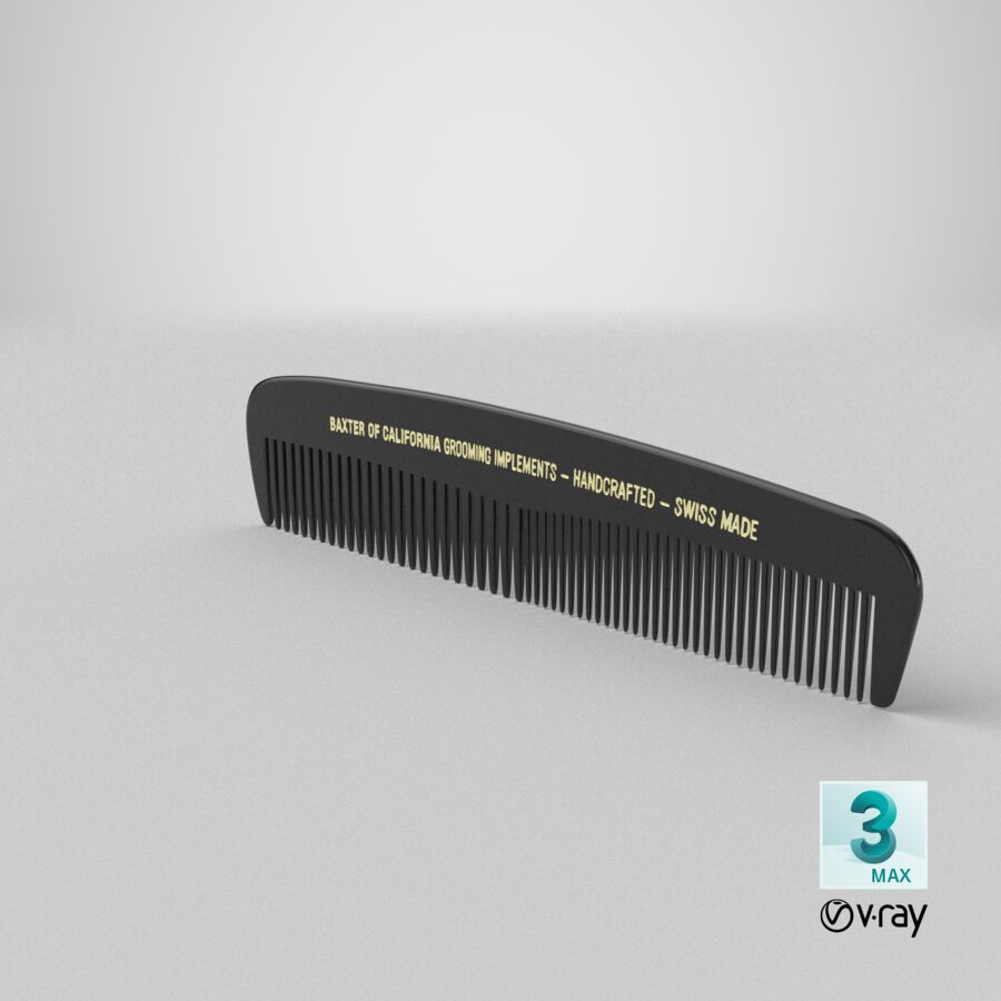 Baxter of California Pocket Comb Black royalty-free 3d model - Preview no. 11