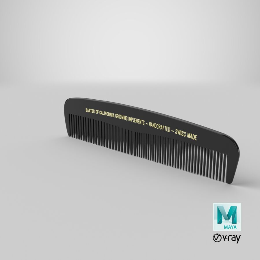 Baxter of California Pocket Comb Black royalty-free 3d model - Preview no. 14