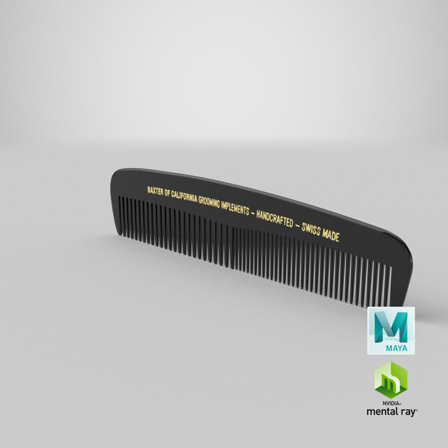 Baxter of California Pocket Comb Black royalty-free 3d model - Preview no. 13