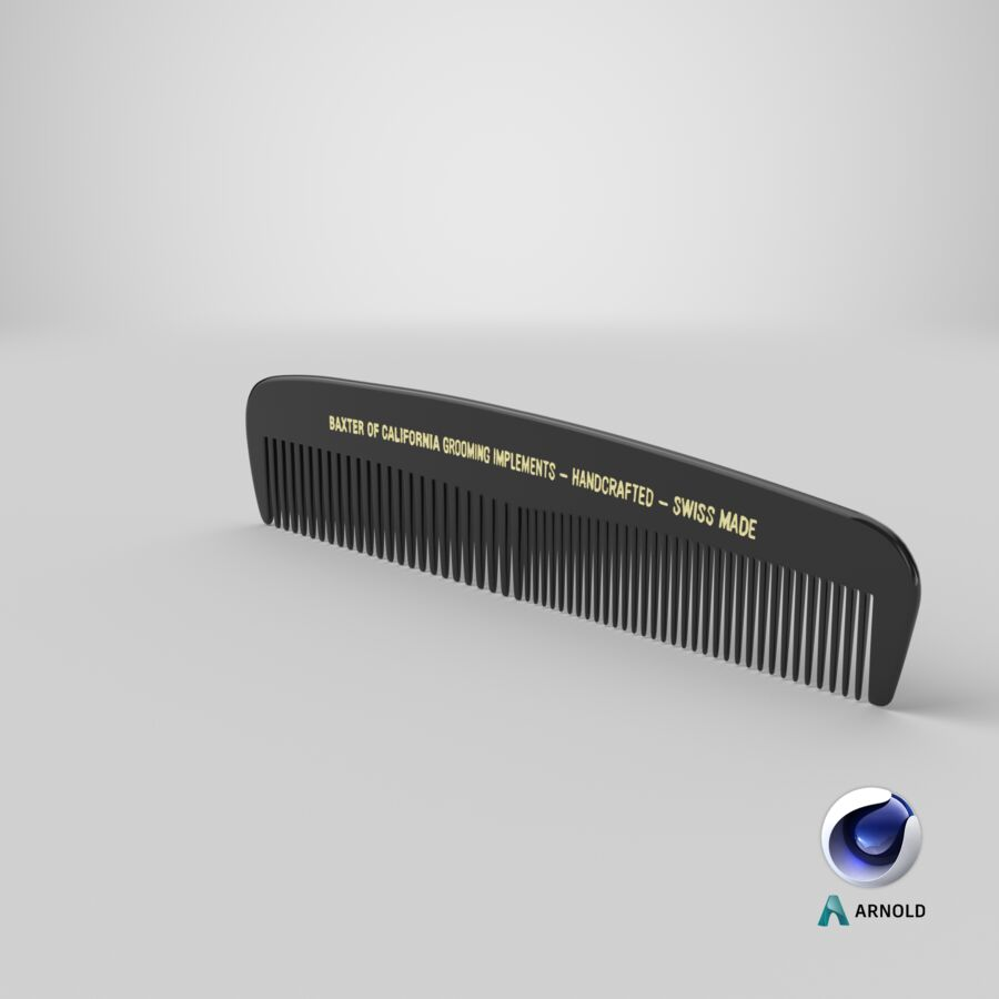 Baxter of California Pocket Comb Black royalty-free 3d model - Preview no. 6