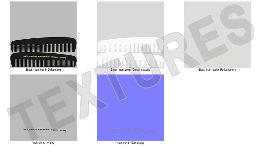 Baxter of California Pocket Comb Black royalty-free 3d model - Preview no. 14