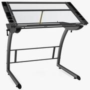 Tiltable Glass Drawing Table 3d model