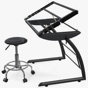 Triflex Height Adjustable Tiltable Glass Drawing Table Set 3d model
