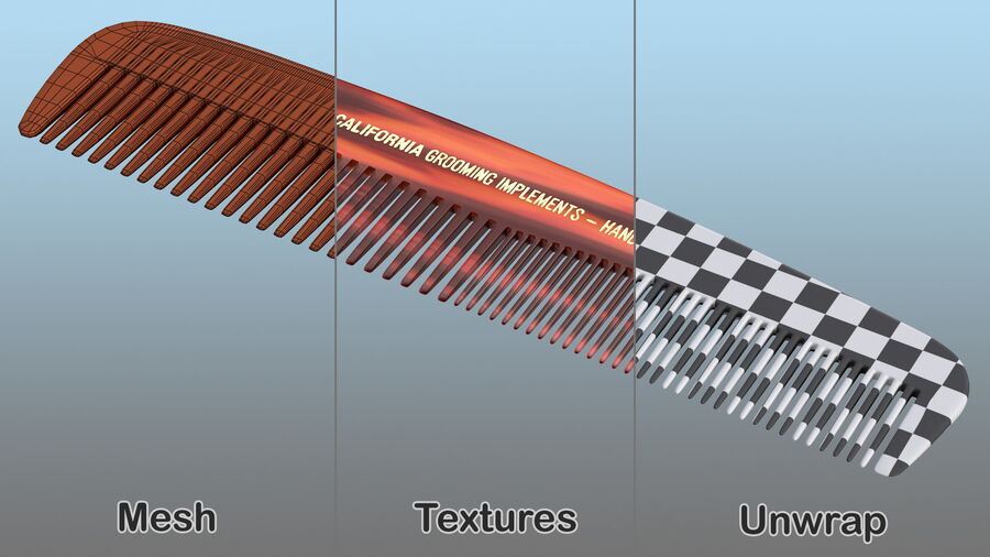Baxter of California Pocket Comb Brown royalty-free 3d model - Preview no. 12