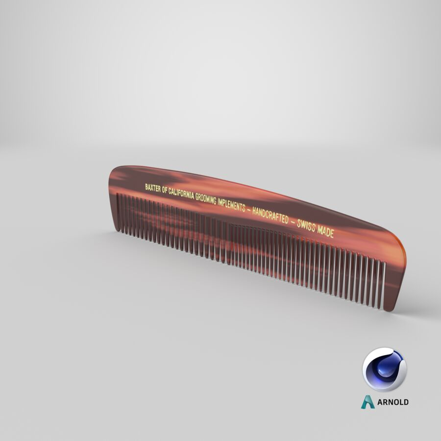 Baxter of California Pocket Comb Brown royalty-free 3d model - Preview no. 5