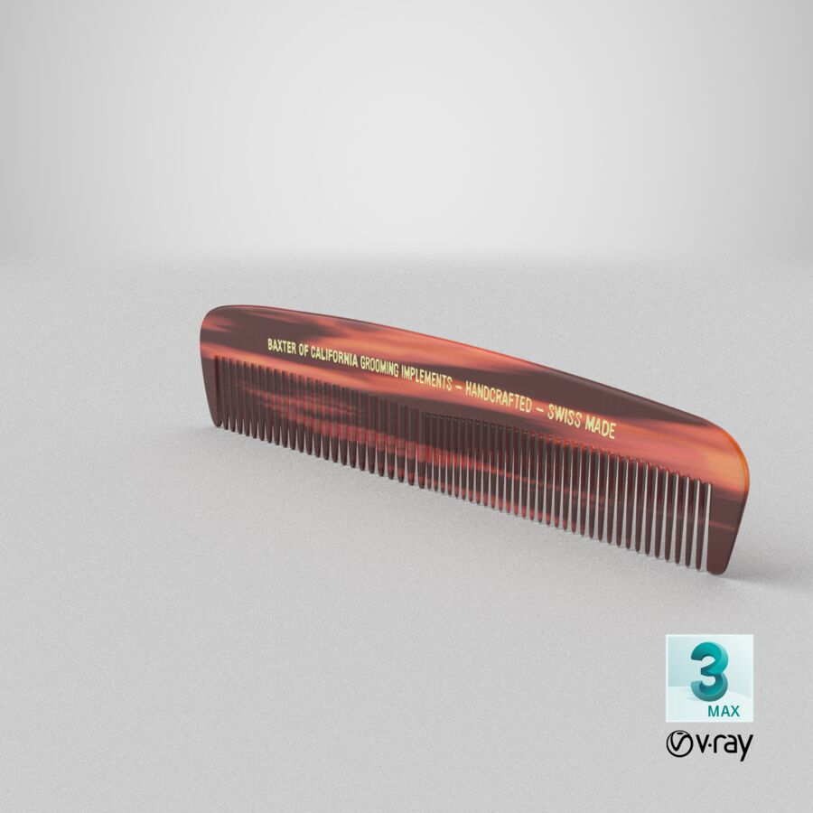 Baxter of California Pocket Comb Brown royalty-free 3d model - Preview no. 10