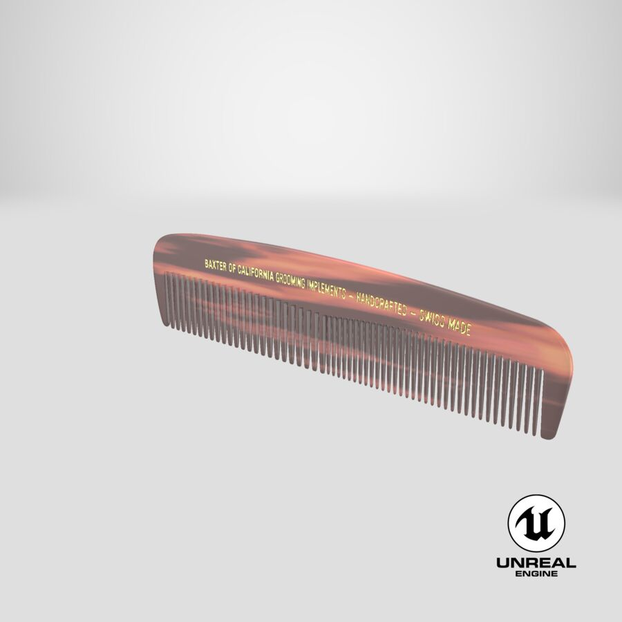 Baxter of California Pocket Comb Brown royalty-free 3d model - Preview no. 7