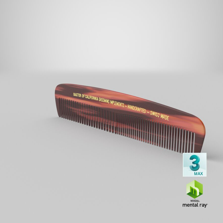Baxter of California Pocket Comb Brown royalty-free 3d model - Preview no. 9