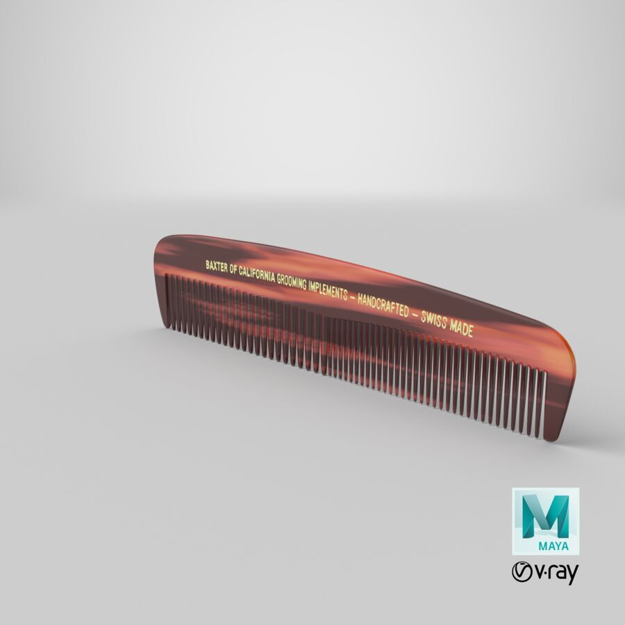 Baxter of California Pocket Comb Brown royalty-free 3d model - Preview no. 13