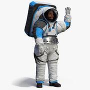 Astronauta che indossa la posa di saluti xEMU 3d model