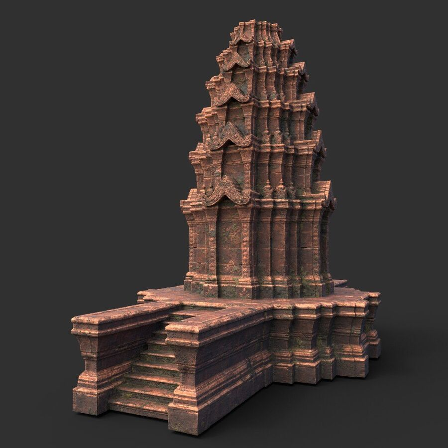 Ruiny Ancient Temple - Khmer Architecture Pack A-01 royalty-free 3d model - Preview no. 17