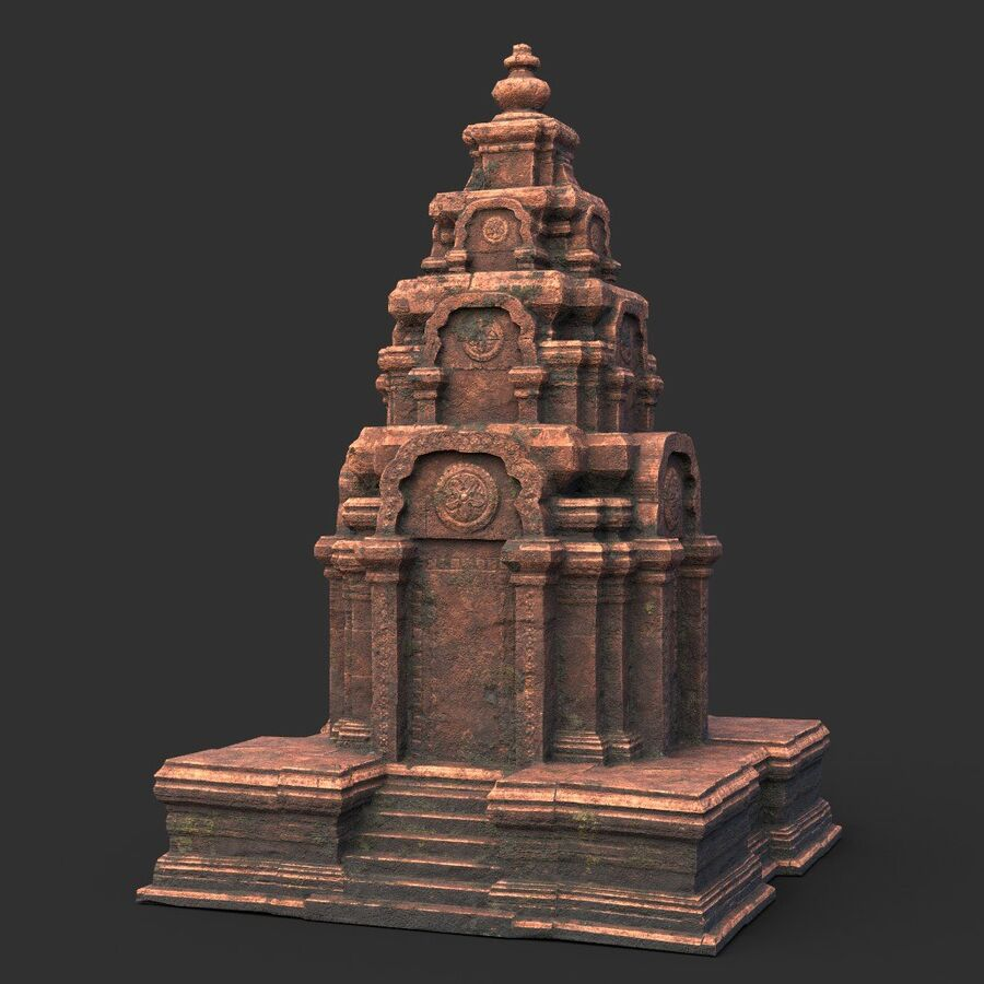 Ruiny Ancient Temple - Khmer Architecture Pack A-01 royalty-free 3d model - Preview no. 1