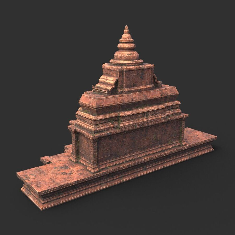 Ruiny Ancient Temple - Khmer Architecture Pack A-01 royalty-free 3d model - Preview no. 50