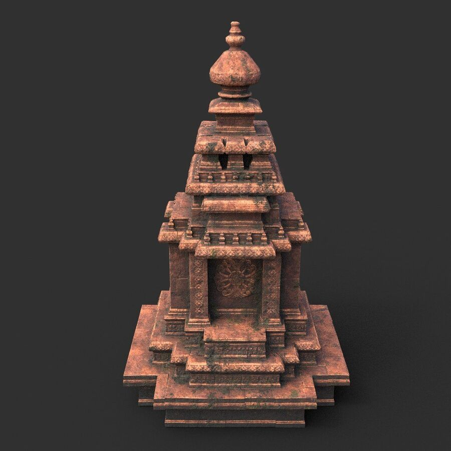Ruiny Ancient Temple - Khmer Architecture Pack A-01 royalty-free 3d model - Preview no. 29