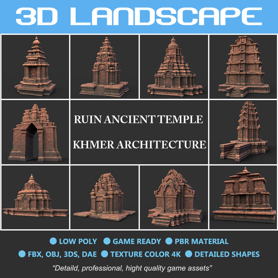 Ruiny Ancient Temple - Khmer Architecture Pack A-01 royalty-free 3d model - Preview no. 2