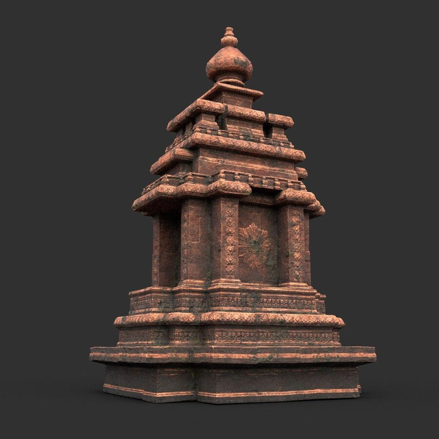 Ruiny Ancient Temple - Khmer Architecture Pack A-01 royalty-free 3d model - Preview no. 30