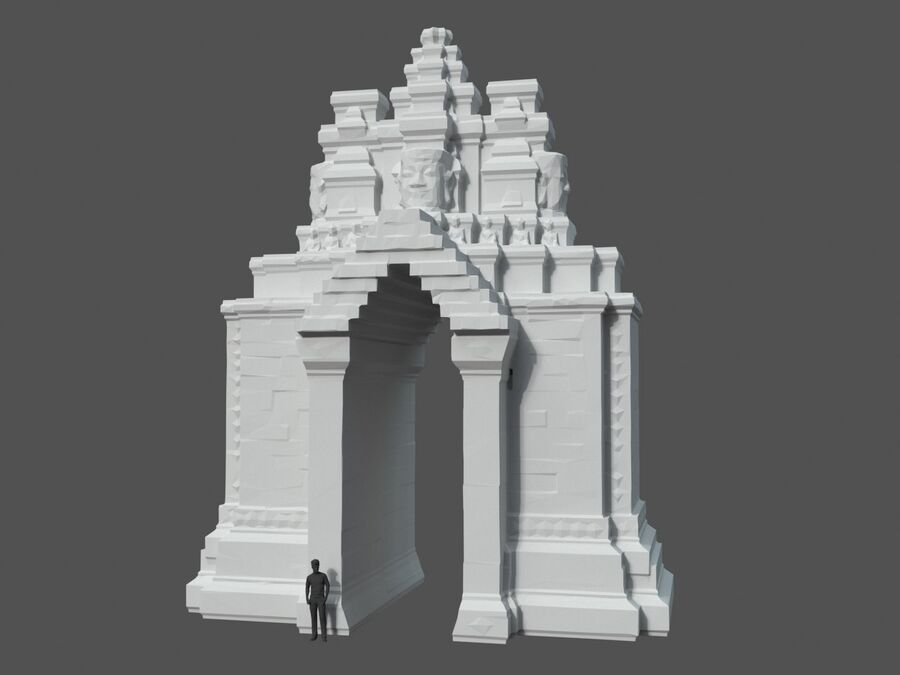 Ruiny Ancient Temple - Khmer Architecture Pack A-01 royalty-free 3d model - Preview no. 38