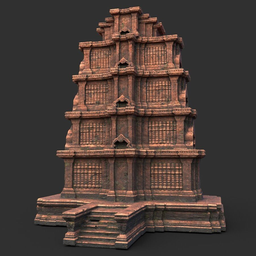 Ruiny Ancient Temple - Khmer Architecture Pack A-01 royalty-free 3d model - Preview no. 22