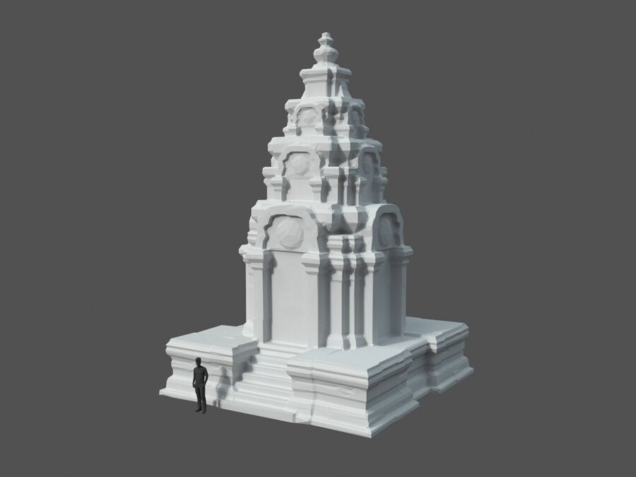 Ruiny Ancient Temple - Khmer Architecture Pack A-01 royalty-free 3d model - Preview no. 3