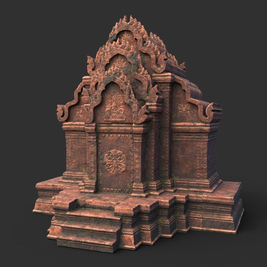 Ruiny Ancient Temple - Khmer Architecture Pack A-01 royalty-free 3d model - Preview no. 12