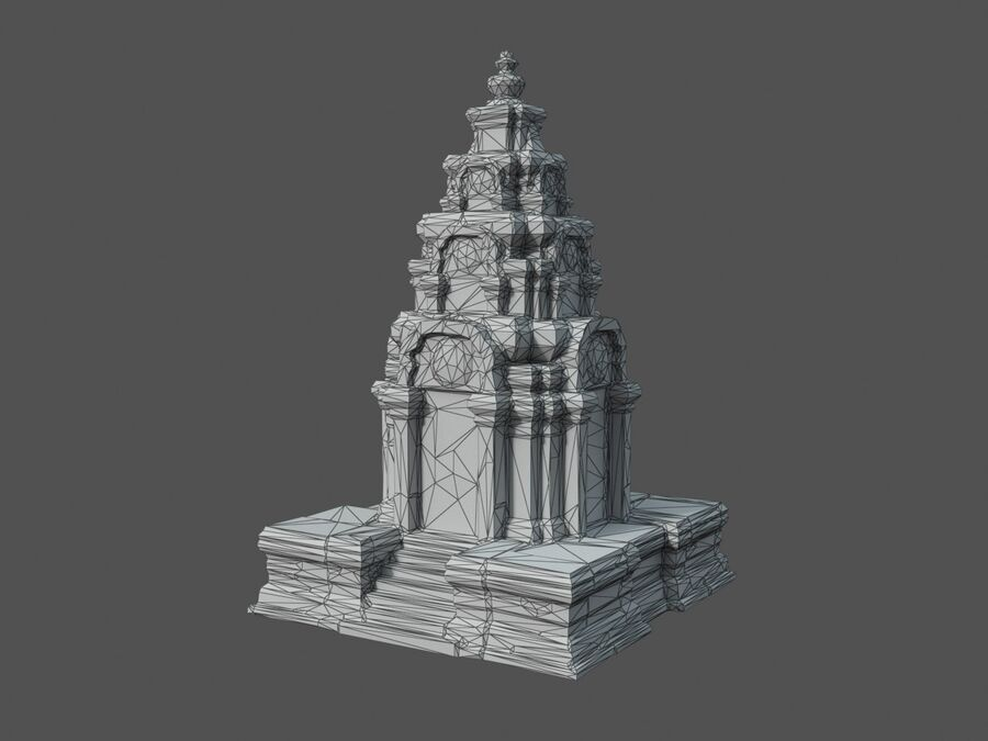 Ruiny Ancient Temple - Khmer Architecture Pack A-01 royalty-free 3d model - Preview no. 6