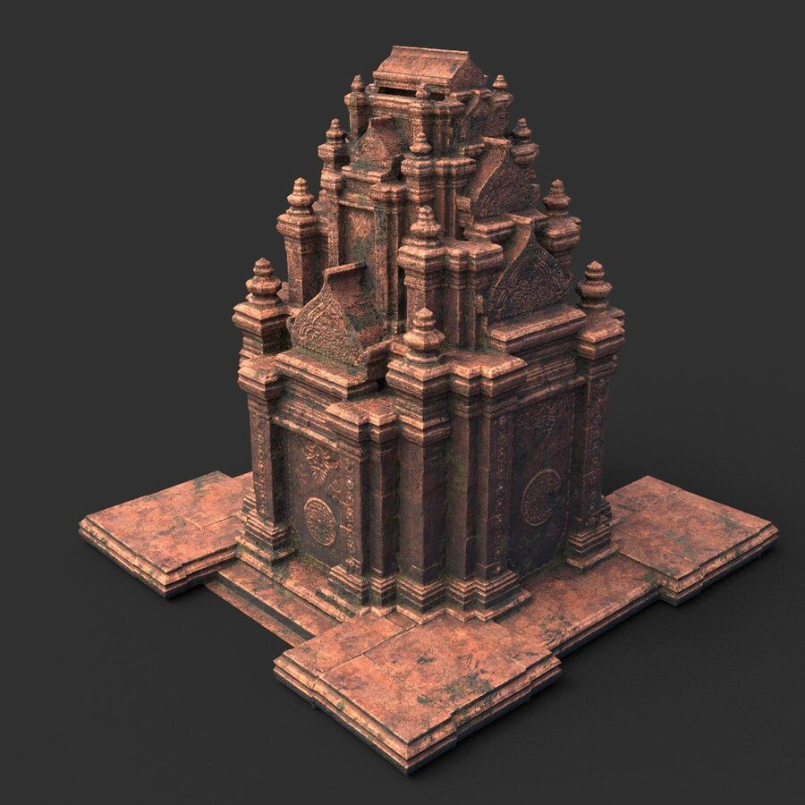 Ruiny Ancient Temple - Khmer Architecture Pack A-01 royalty-free 3d model - Preview no. 10