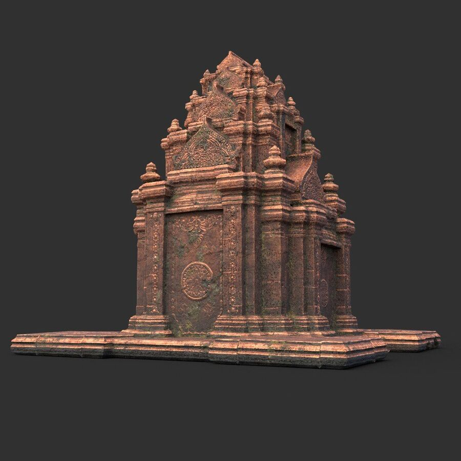 Ruiny Ancient Temple - Khmer Architecture Pack A-01 royalty-free 3d model - Preview no. 9