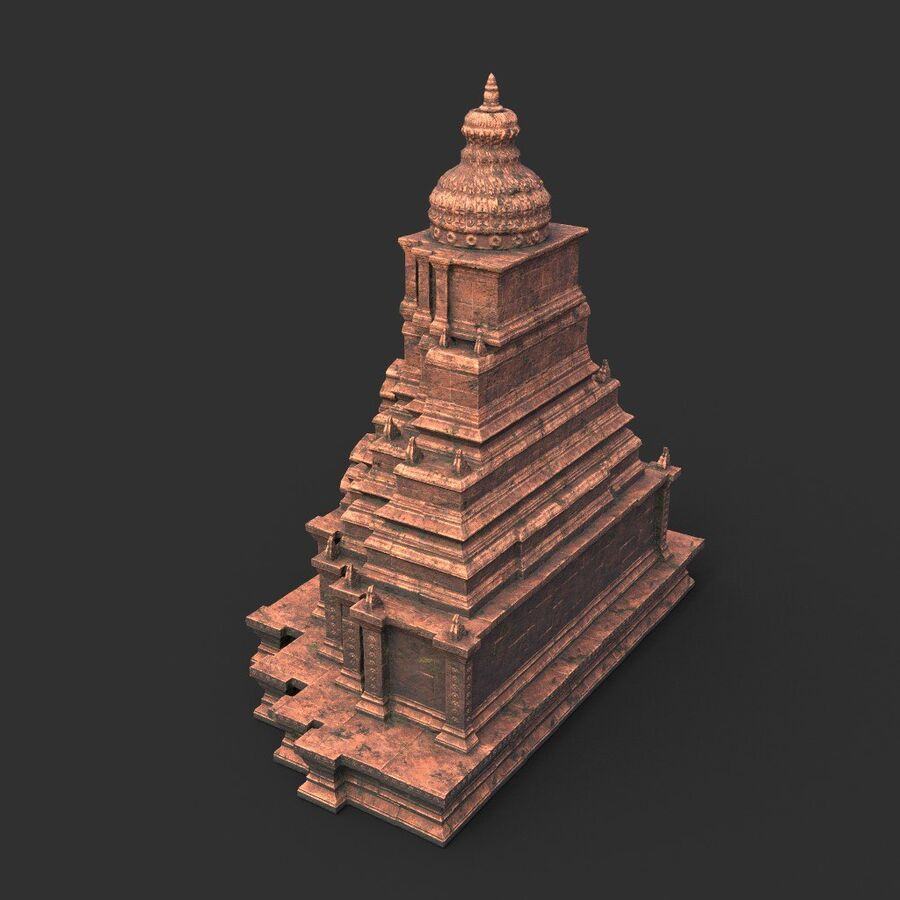Ruiny Ancient Temple - Khmer Architecture Pack A-01 royalty-free 3d model - Preview no. 45