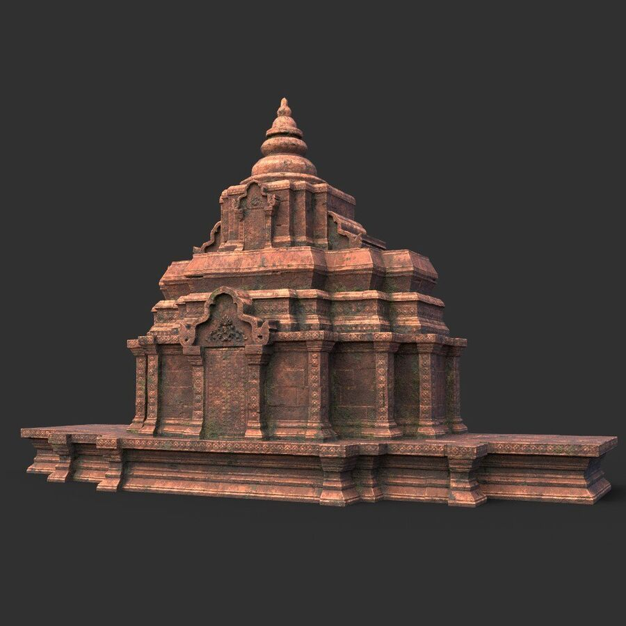 Ruiny Ancient Temple - Khmer Architecture Pack A-01 royalty-free 3d model - Preview no. 47