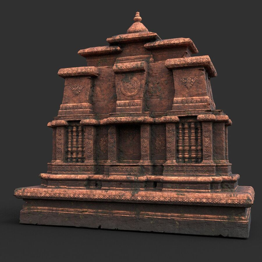 Ruiny Ancient Temple - Khmer Architecture Pack A-01 royalty-free 3d model - Preview no. 32