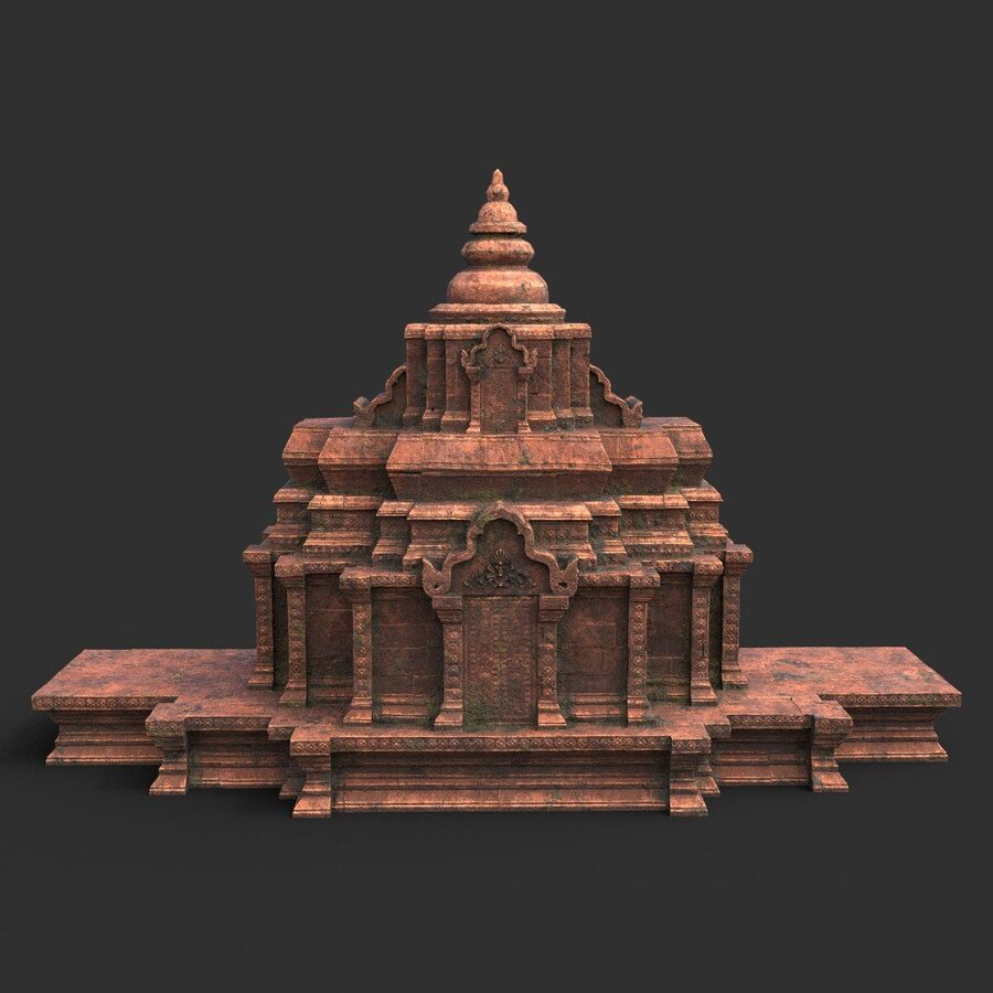 Ruiny Ancient Temple - Khmer Architecture Pack A-01 royalty-free 3d model - Preview no. 49