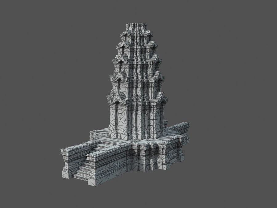 Ruiny Ancient Temple - Khmer Architecture Pack A-01 royalty-free 3d model - Preview no. 21