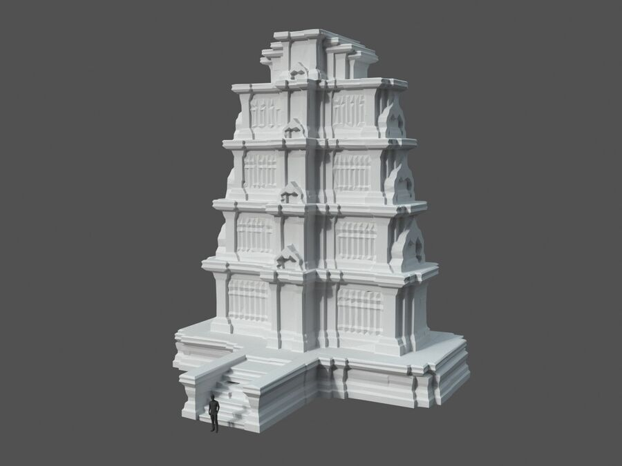 Ruiny Ancient Temple - Khmer Architecture Pack A-01 royalty-free 3d model - Preview no. 23