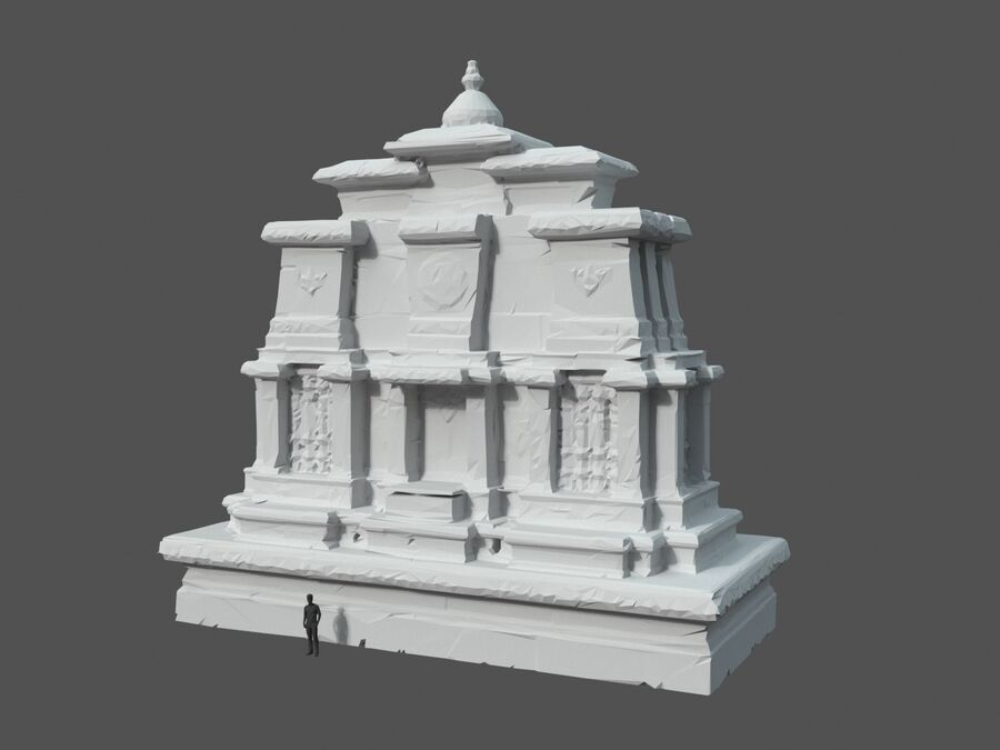 Ruiny Ancient Temple - Khmer Architecture Pack A-01 royalty-free 3d model - Preview no. 33