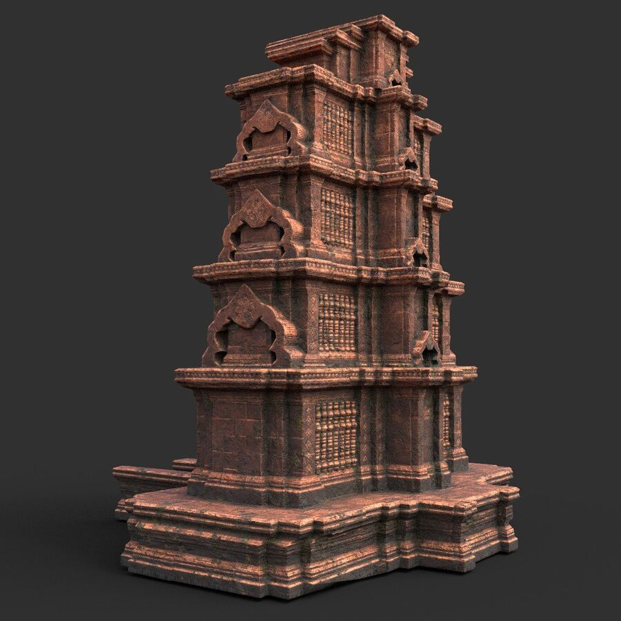 Ruiny Ancient Temple - Khmer Architecture Pack A-01 royalty-free 3d model - Preview no. 24