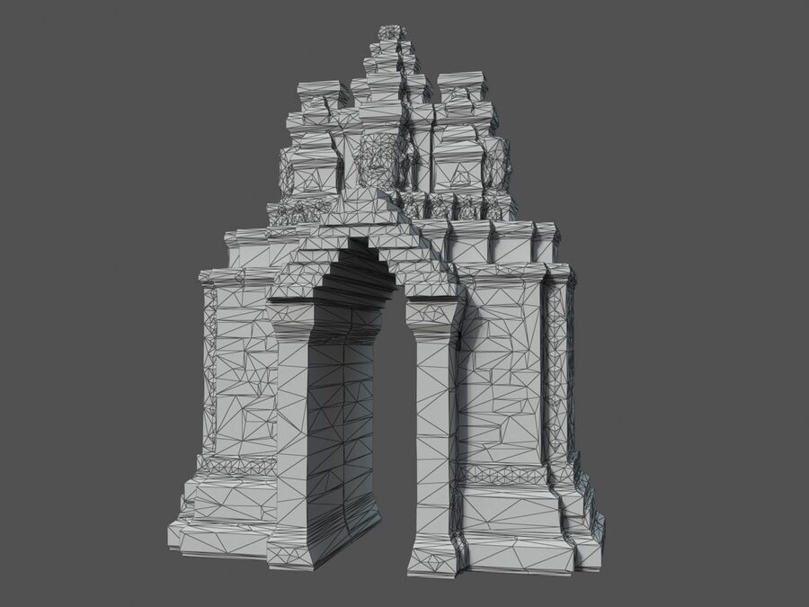 Ruiny Ancient Temple - Khmer Architecture Pack A-01 royalty-free 3d model - Preview no. 41