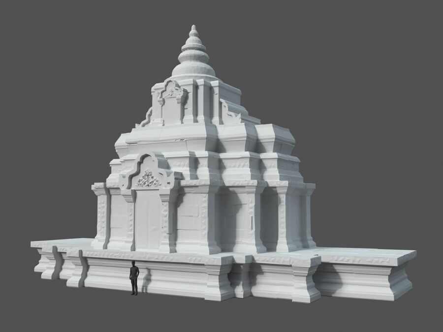 Ruiny Ancient Temple - Khmer Architecture Pack A-01 royalty-free 3d model - Preview no. 48