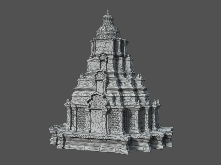 Ruiny Ancient Temple - Khmer Architecture Pack A-01 royalty-free 3d model - Preview no. 46