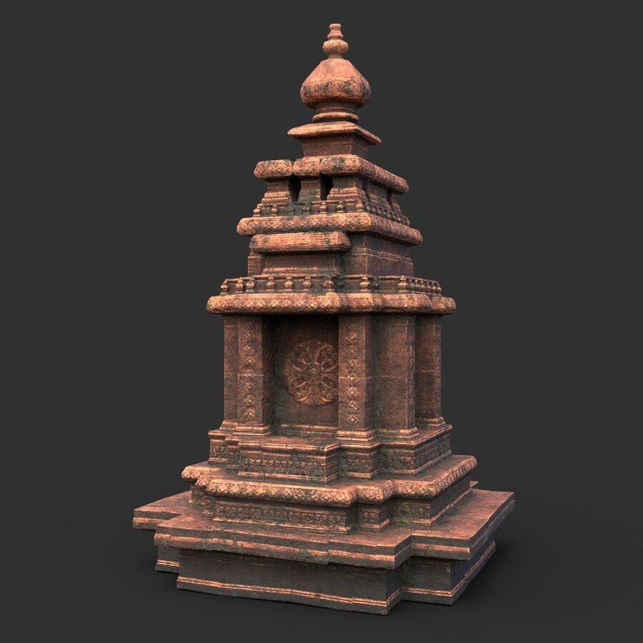 Ruiny Ancient Temple - Khmer Architecture Pack A-01 royalty-free 3d model - Preview no. 27