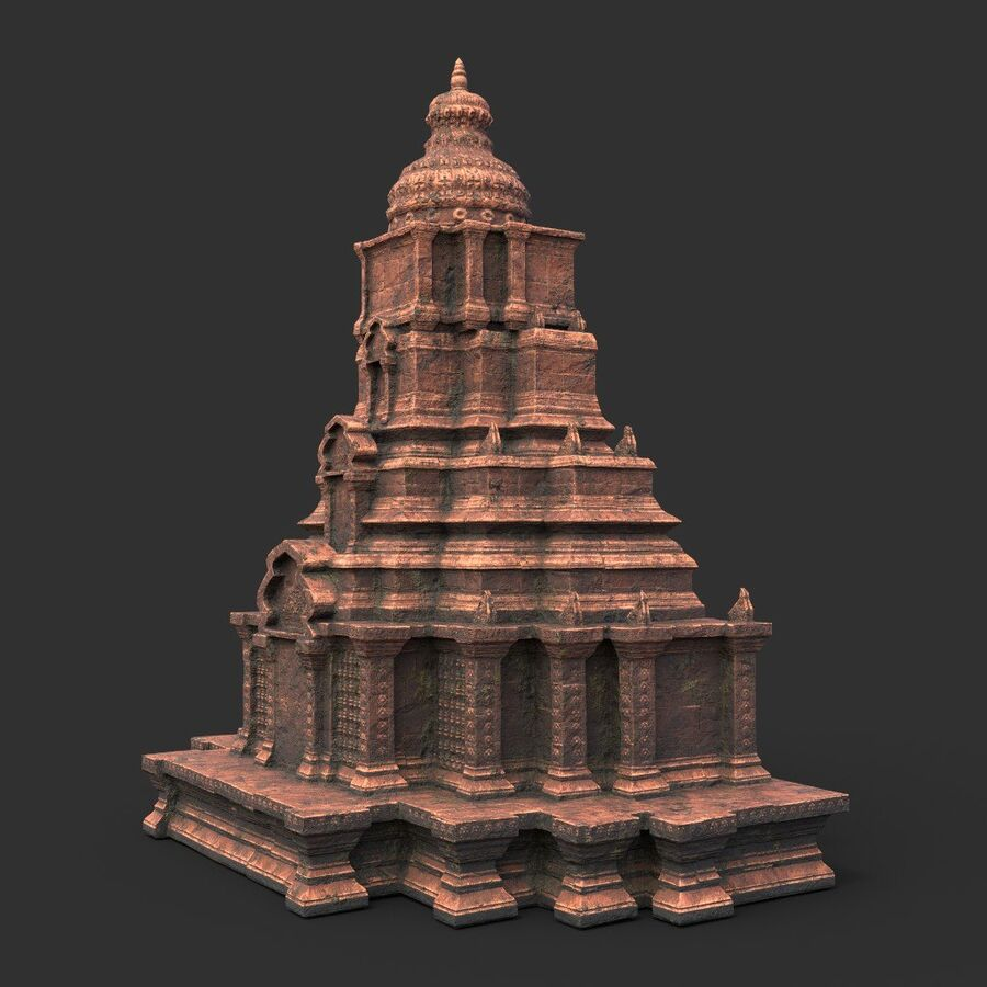 Ruiny Ancient Temple - Khmer Architecture Pack A-01 royalty-free 3d model - Preview no. 44