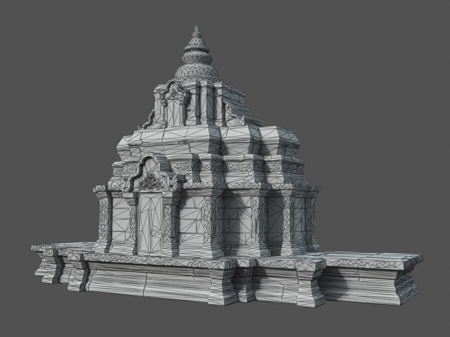 Ruiny Ancient Temple - Khmer Architecture Pack A-01 royalty-free 3d model - Preview no. 51