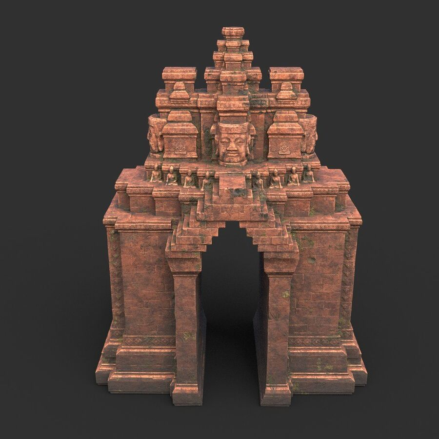 Ruiny Ancient Temple - Khmer Architecture Pack A-01 royalty-free 3d model - Preview no. 39
