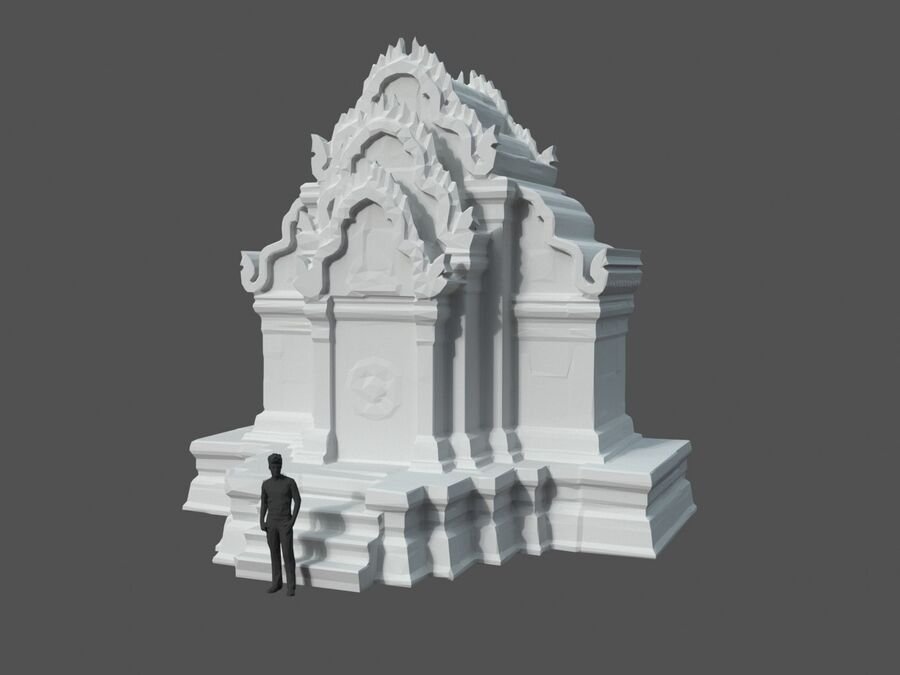 Ruiny Ancient Temple - Khmer Architecture Pack A-01 royalty-free 3d model - Preview no. 13