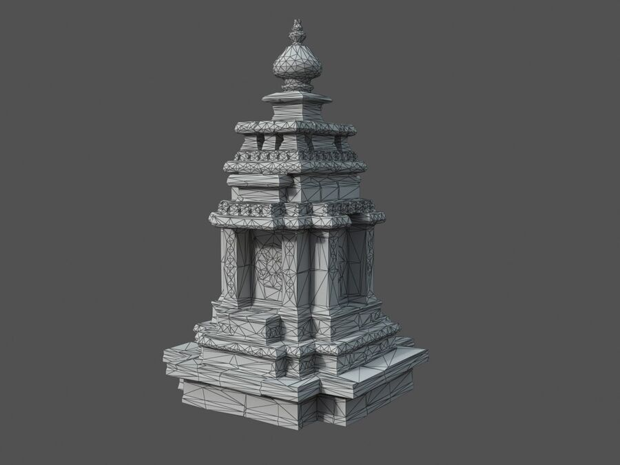 Ruiny Ancient Temple - Khmer Architecture Pack A-01 royalty-free 3d model - Preview no. 31